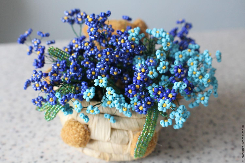Незабудки из бисера Полевые цветы из бисера