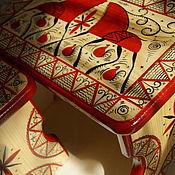 Табуреты ручной работы. Ярмарка Мастеров - ручная работа Табуреты: Скамейка с мезенской росписью. Handmade.