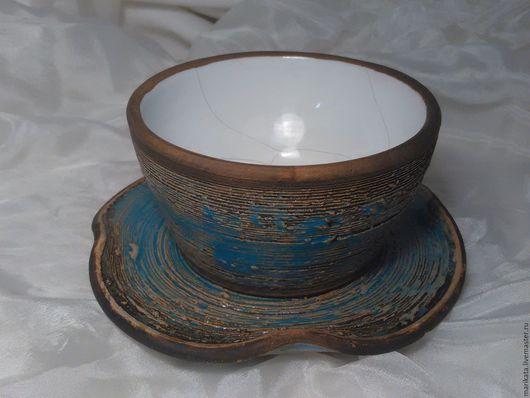 """Сервизы, чайные пары ручной работы. Ярмарка Мастеров - ручная работа. Купить """"Рисовые поля, залитые водой"""", кофейная пара, керамика.. Handmade."""