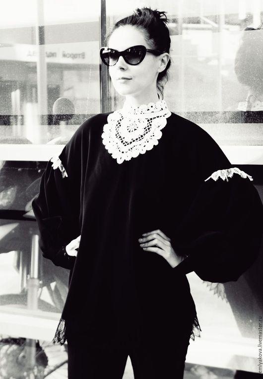 Блузки ручной работы. Ярмарка Мастеров - ручная работа. Купить Блуза. Handmade. Черный, вологодское кружево, японский шёлк