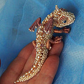 "Украшения handmade. Livemaster - original item Brooch dragon ""Pearl "". Pearls and beads. Embroidered dragon.. Handmade."