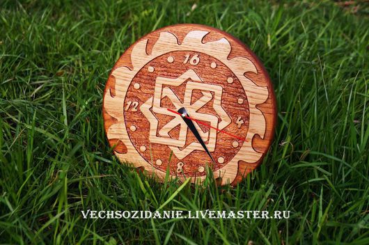 Часы для дома ручной работы. Ярмарка Мастеров - ручная работа. Купить Часы славянские Молвинец в Солнце. Handmade. Коричневый, молвинец