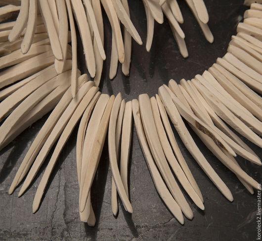 Для украшений ручной работы. Ярмарка Мастеров - ручная работа. Купить Белые бусины-стики из кокоса 50 мм. Handmade.