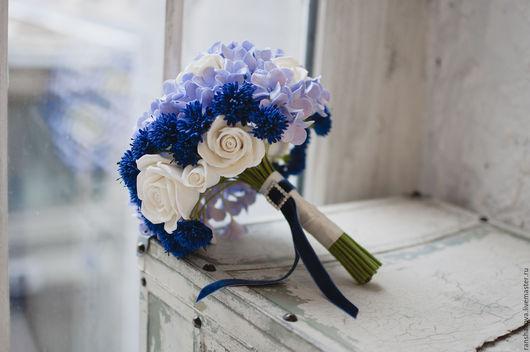 Свадебные цветы ручной работы. Ярмарка Мастеров - ручная работа. Купить Букет невесты с васильками из полимерной глины.. Handmade. Синий
