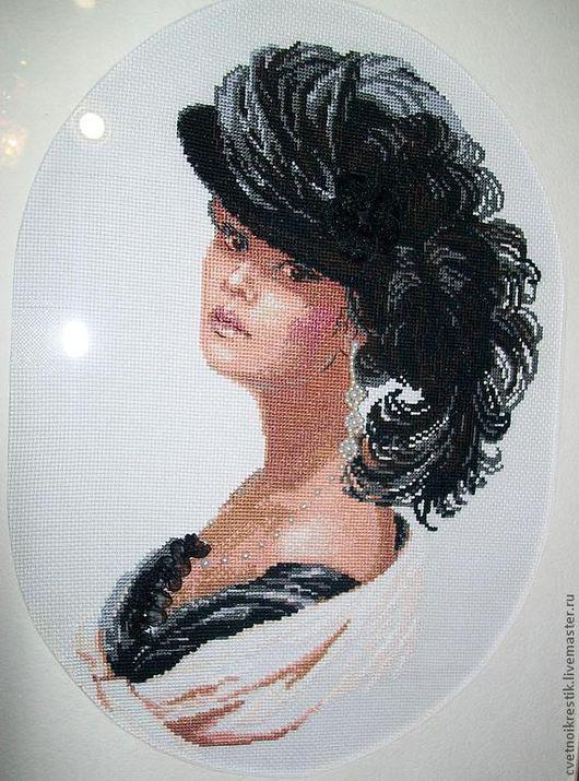 Люди, ручной работы. Ярмарка Мастеров - ручная работа. Купить Дама в шляпе. Handmade. Вышивка крестом, дама в шляпе, для интерьера