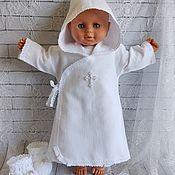 Работы для детей, handmade. Livemaster - original item Warm christening shirt with hood for boy / girl. Handmade.