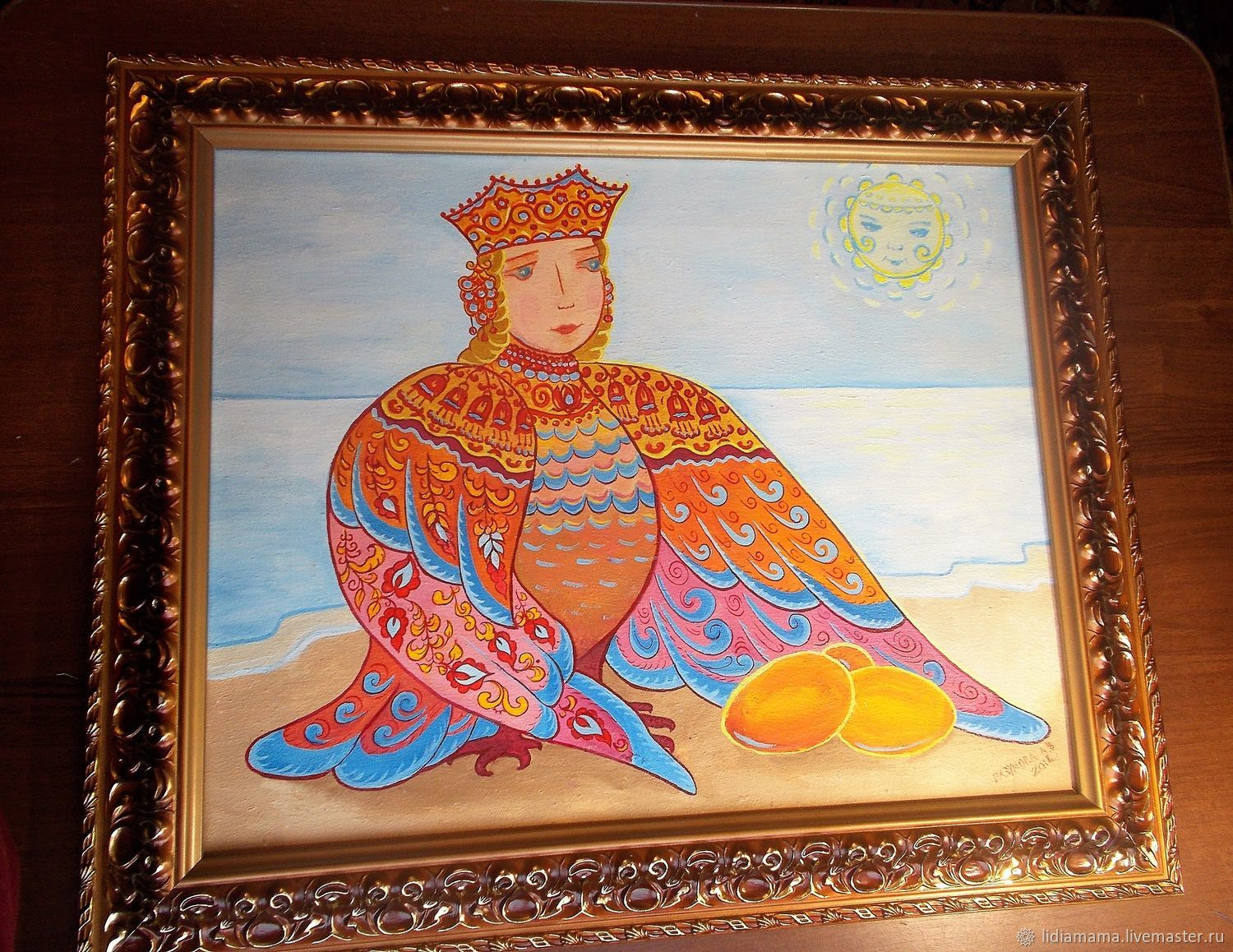 Ethnic Art handmade. Livemaster - handmade. Buy Picture. Alkonost. Winter solstice.Sea, painting as a gift