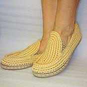 Обувь ручной работы. Ярмарка Мастеров - ручная работа Мокасины вязаные, беж, хлопок, р.37. Handmade.