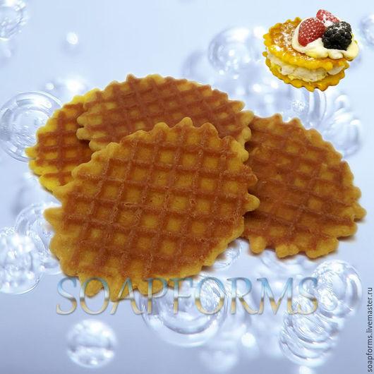 Силиконовая форма для мыла `Вафельное печенье` (на фото работа выполненная в мыле)