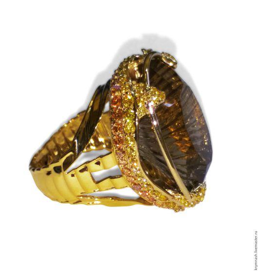 Кольца ручной работы. Ярмарка Мастеров - ручная работа. Купить Золотое кольцо Винный топаз с сапфирами в жёлтом золоте 585 пробы. Handmade.