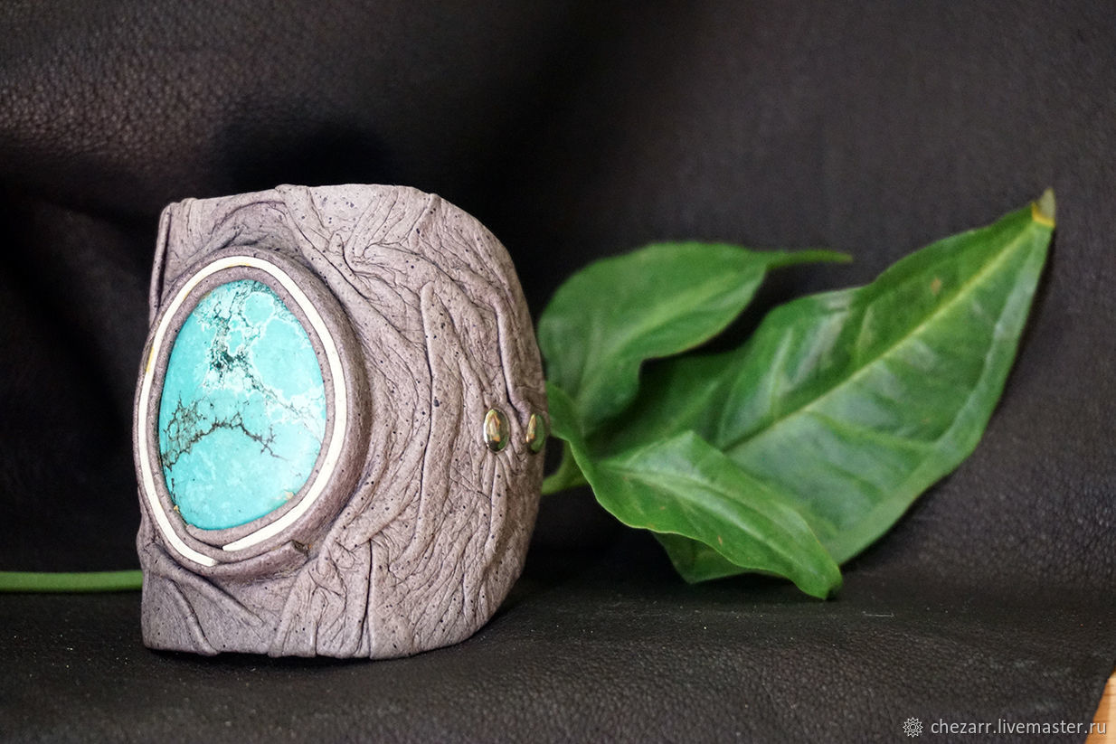 Leather bracelet with chrysocolla, Hard bracelet, Chelyabinsk,  Фото №1
