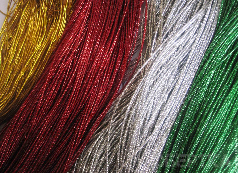 Шнур люрекс красный, зеленый, золото, серебро. 10 метров, Шнуры, Ставрополь, Фото №1