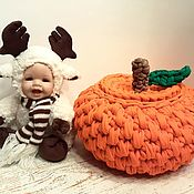 Для дома и интерьера handmade. Livemaster - original item Tangerine basket made of knitted yarn. Handmade.
