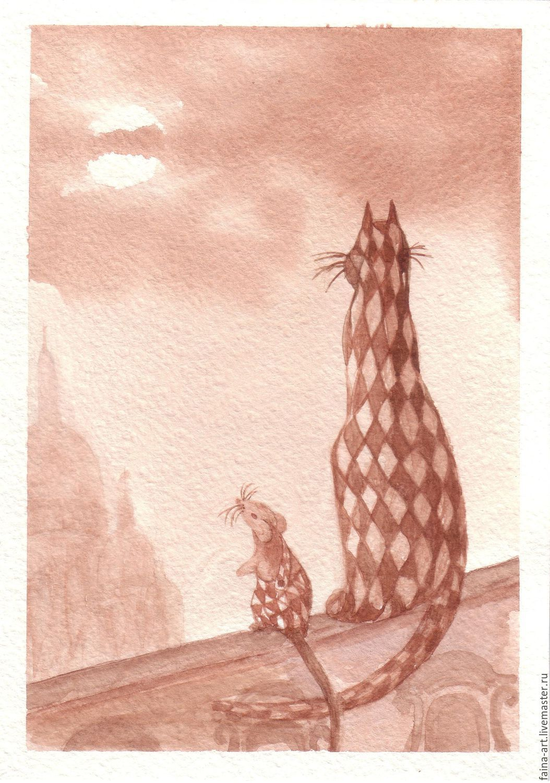 Путешествие кота Фурысия и мышонка Терентия в Барселону. Мышка и кот, Картины, Новосибирск,  Фото №1