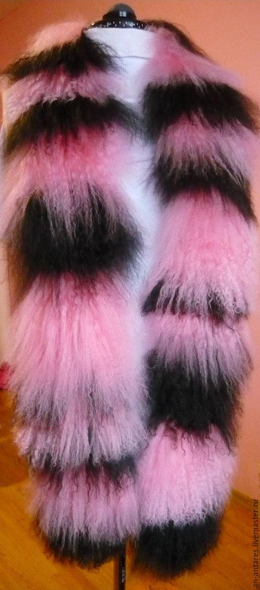 Шарфы и шарфики ручной работы. Ярмарка Мастеров - ручная работа. Купить Шарф полосатый из меха тибетской ламы. Handmade. Разноцветный