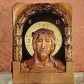 Картины и панно handmade. Livemaster - original item icon wood christ wearing the crown of thorns carving. Handmade.