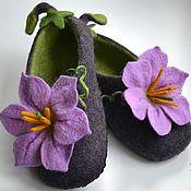 Обувь ручной работы. Ярмарка Мастеров - ручная работа тапочки - баклажанчики. Handmade.