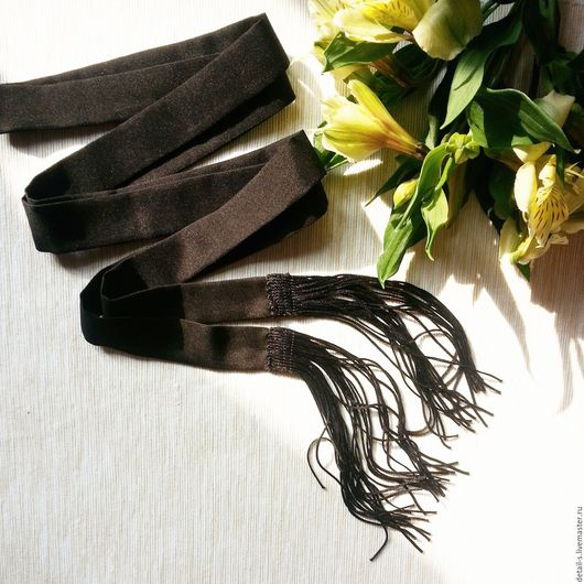 Шарфы и шарфики ручной работы. Ярмарка Мастеров - ручная работа. Купить Шарфик с бахрамой. Handmade. Черный, универсальный размер, мастхэв