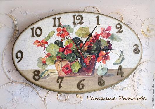 Часы для дома ручной работы. Ярмарка Мастеров - ручная работа. Купить часы настенные Настурция. Handmade. Оранжевый, часы интерьерные