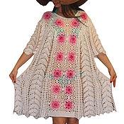 """Одежда ручной работы. Ярмарка Мастеров - ручная работа Вязаное пляжное платье """"Бело-розовый прибой"""". Handmade."""