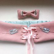 Аксессуары ручной работы. Ярмарка Мастеров - ручная работа Розовая бабочка-галстук с вышивкой колосья. Handmade.