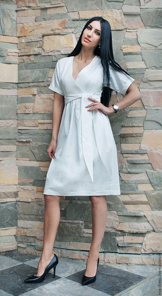 """Платья ручной работы. Ярмарка Мастеров - ручная работа. Купить Белое платье из хлопка """"Элегантность"""". Handmade. Белый, повседневное платье"""