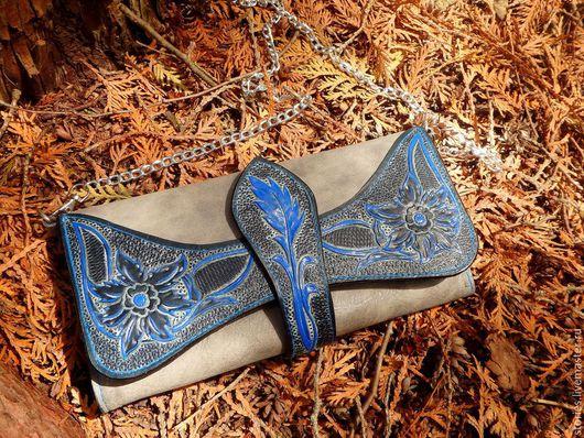Кошельки и визитницы ручной работы. Ярмарка Мастеров - ручная работа. Купить Клатч кошелек кожаный женский Magnifico Blue Flowers. Handmade.