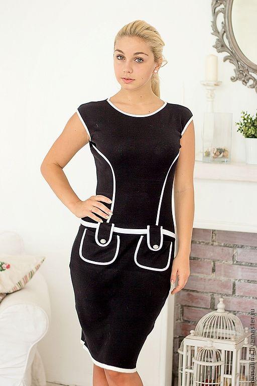 """Платья ручной работы. Ярмарка Мастеров - ручная работа. Купить Платье """"Кейси"""". Handmade. Чёрно-белый, платье футляр"""
