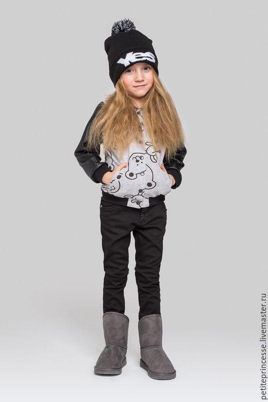 Одежда для девочек, ручной работы. Ярмарка Мастеров - ручная работа. Купить куртка-бомбер Мишки. Handmade. Темно-серый, куртка