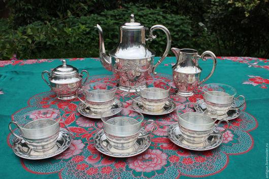 Винтажная посуда. Ярмарка Мастеров - ручная работа. Купить Винтажный чайный ( кофейный)сервиз, серебряное покрытие,Германия,1907г. Handmade.