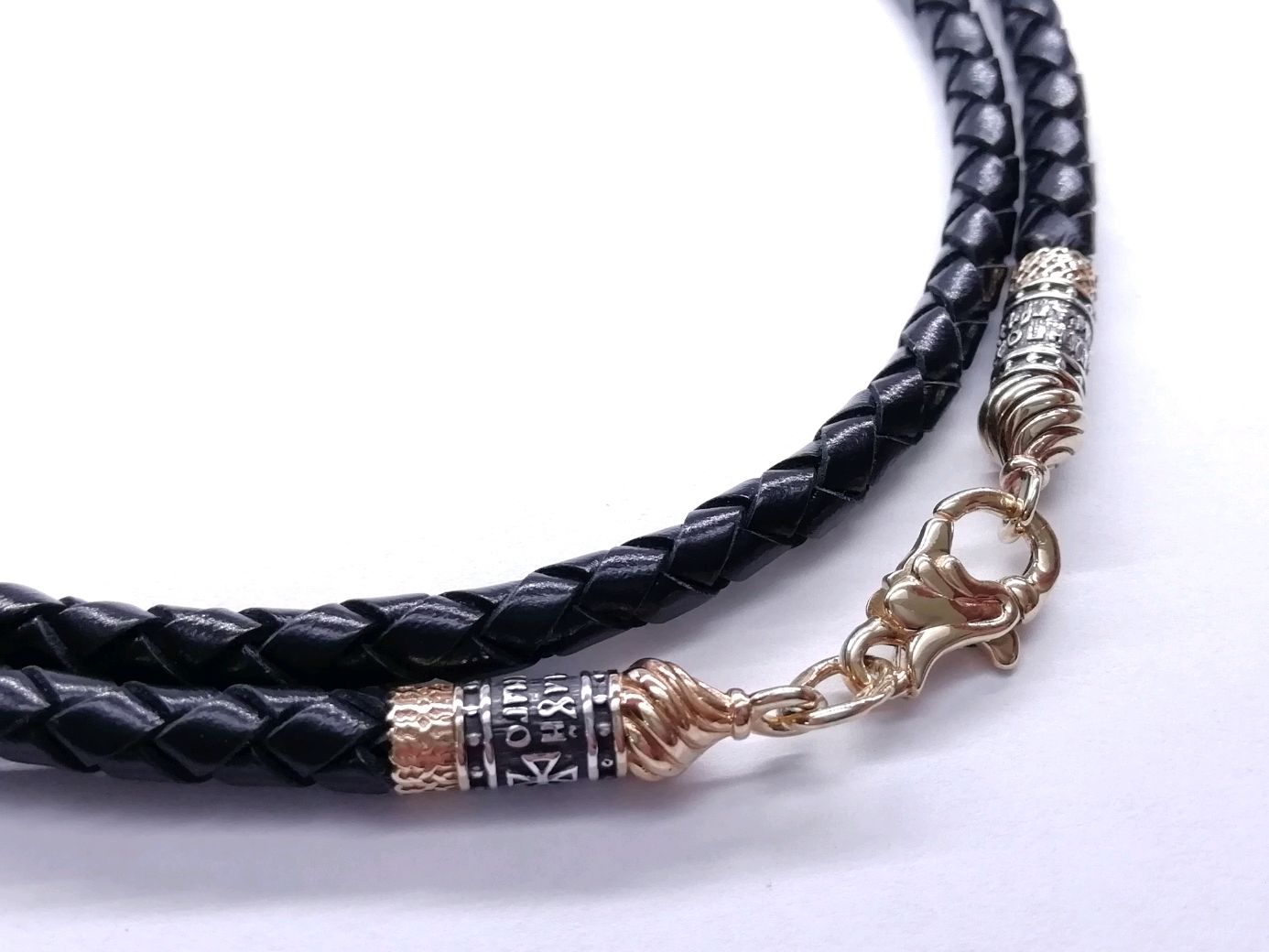 Leather Lace with Gold plating, thickness 4 mm, Necklace, Belgorod,  Фото №1