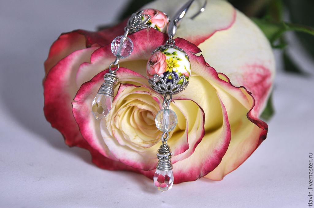 Earrings Tensha beads. Tiavin