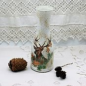 Для дома и интерьера handmade. Livemaster - original item Bottle vase glass hunting deer boar. Handmade.