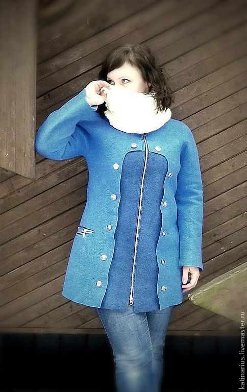 """Верхняя одежда ручной работы. Ярмарка Мастеров - ручная работа. Купить Пальто валяное """"18 Пуговиц"""". Handmade. Синий"""