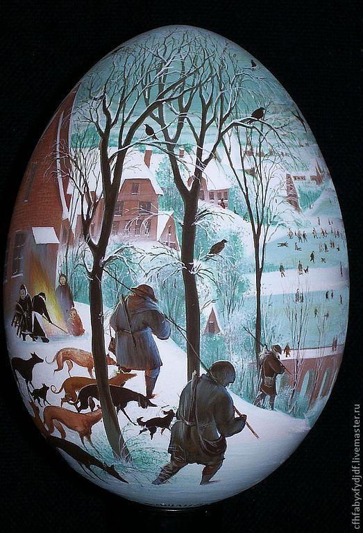 Яйца ручной работы. Ярмарка Мастеров - ручная работа. Купить Яйцо. Брейгель. Handmade. Лаковая миниатюра, лак глянцевый