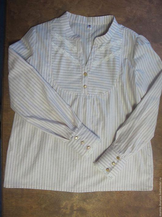 Блузки ручной работы. Ярмарка Мастеров - ручная работа. Купить Блуза в стиле бохо. Handmade. В полоску, с кружевом, стойка