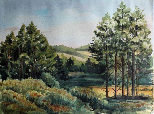 """Пейзаж ручной работы. Ярмарка Мастеров - ручная работа. Купить Картина """"Зеленая долина"""". Handmade. Разноцветный, акварельный рисунок, Живопись"""
