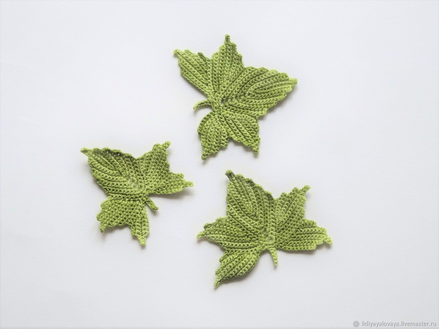 Knit maple leaves (set green) – shop online on Livemaster with ...