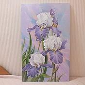 """Картины и панно ручной работы. Ярмарка Мастеров - ручная работа """" Голубое настроение. Ирисы """". Handmade."""