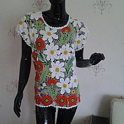Одежда ручной работы. Ярмарка Мастеров - ручная работа Вязаная блузка Лесная поляна 3. Handmade.