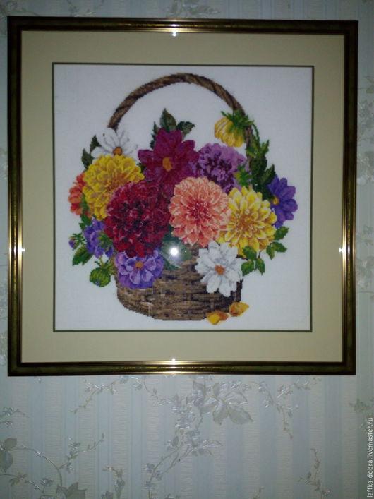 Картины цветов ручной работы. Ярмарка Мастеров - ручная работа. Купить картина букет георгионов в корзине вышитая крестиком. Handmade.