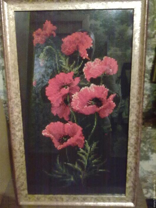 Картины цветов ручной работы. Ярмарка Мастеров - ручная работа. Купить Маки. Handmade. Ярко-красный, мулине