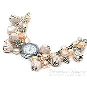 Украшения handmade. Livemaster - original item Bracelet watch. Watch wrist women`s. Bracelet with pearls. Handmade.