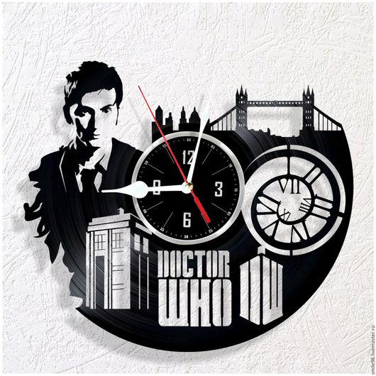 """Часы для дома ручной работы. Ярмарка Мастеров - ручная работа. Купить Часы из пластинки """"Доктор кто"""". Handmade. Доктор кто"""