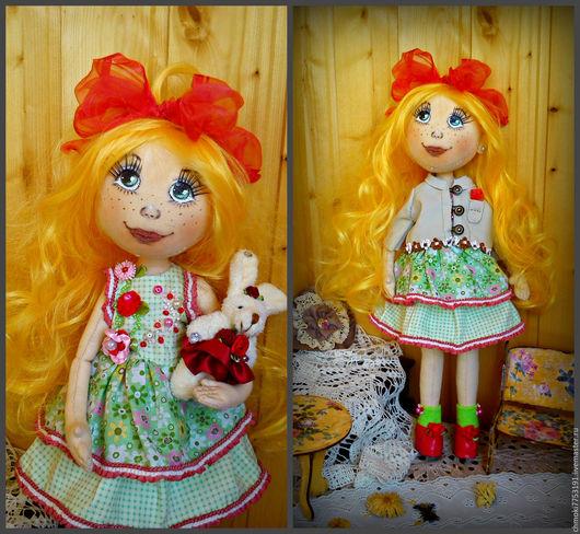 Коллекционные куклы ручной работы. Ярмарка Мастеров - ручная работа. Купить куколка Мариша. Handmade. Ярко-зелёный, интерьерная кукла