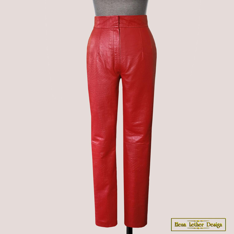Straight trousers 'crocodile' made of genuine leather, Pants, Rodniki,  Фото №1