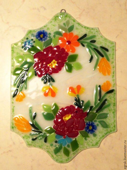 """Картины цветов ручной работы. Ярмарка Мастеров - ручная работа. Купить Панно из стекла """"Цветочный вальс"""". Handmade. Разноцветный"""