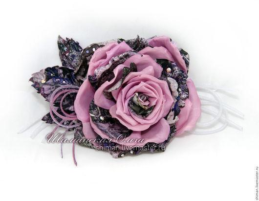 Броши ручной работы. Ярмарка Мастеров - ручная работа. Купить Роза из шелка сиреневая. Цветы из шелка.. Handmade. Роза брошь