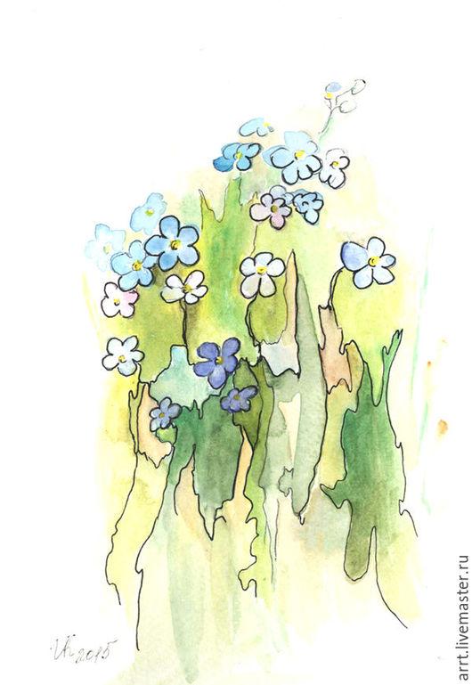 Картины цветов ручной работы. Ярмарка Мастеров - ручная работа. Купить Картина Незабудка акварель 13х18 см. Handmade. Голубой
