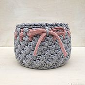 Для дома и интерьера handmade. Livemaster - original item Basket for small items. Basket knitted cotton in the bathroom for storage. Handmade.